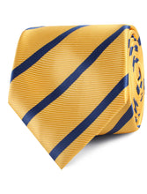 Load image into Gallery viewer, Yellow and Blue Stripes Neck Tie Rolled View