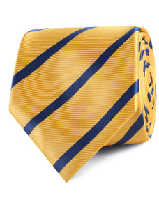 Yellow and Blue Stripes Neck Tie Rolled View