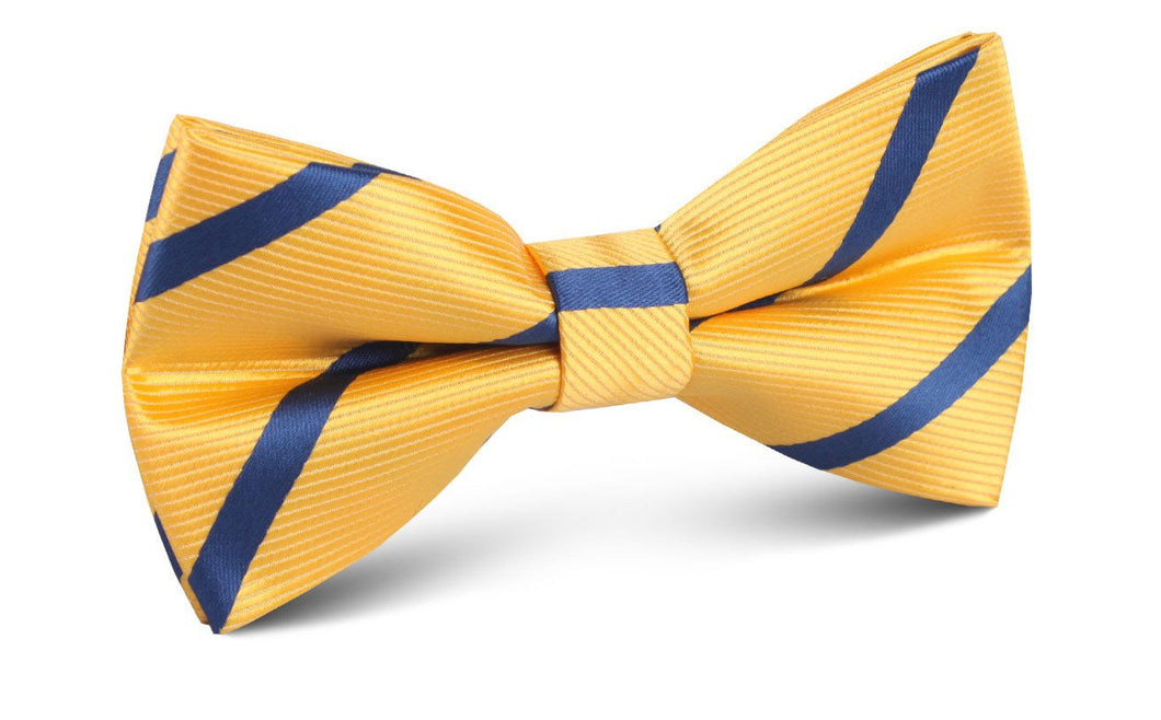 Yellow and Blue Stripes Bow Tie - Adult Pre-Tied Bowtie