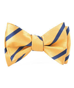 Yellow and Blue Stripes Bow Tie - Adult Self-Tie Bowtie