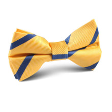 Load image into Gallery viewer, Yellow and Blue Stripes Kids Bow Tie