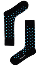Load image into Gallery viewer, Strike A Pose Socks dark blue with light blue dots dress socks