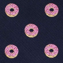 Load image into Gallery viewer, homer simpson pink frosted donut self-tie bow tie fabric