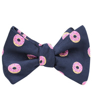 Load image into Gallery viewer, homer simpson pink frosted donut self-tie bow tie (tied view)
