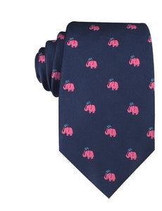 Pink Elephant Spraying Water Neck Tie