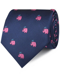 Pink Elephant Spraying Water Neck Tie Rolled View