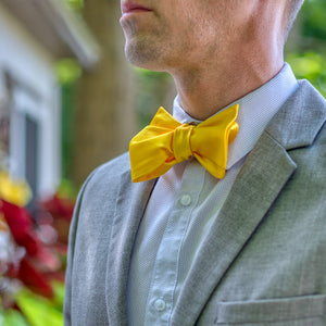 Tuscan Sunflower Bow Tie with Gray Suit