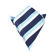 Load image into Gallery viewer, Weekend in the Hamptons - Blue White and Silver Pocket Square