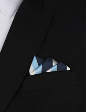 Load image into Gallery viewer, Weekend in the Hamptons - Blue White and Silver Pocket Square Outfit
