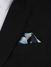 Load image into Gallery viewer, Weekend in the Hamptons - Blue White and Silver Pocket Square Outfit Idea