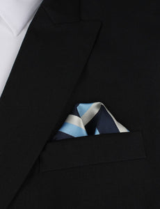 Weekend in the Hamptons - Blue White and Silver Pocket Square Outfit Idea