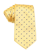 Load image into Gallery viewer, Front view of Wildcats Yellow and Navy Polkadot Necktie