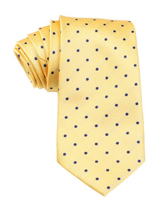 Front view of Wildcats Yellow and Navy Polkadot Necktie