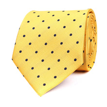 Load image into Gallery viewer, Wildcats Yellow and Navy Polkadot Neck tie
