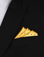 Load image into Gallery viewer, Wildcats Yellow Navy Polkadots Pocket Square Outfit Idea