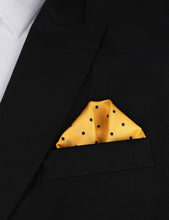 Load image into Gallery viewer, Wildcats Yellow Navy Polkadots Pocket Square Outfit Idea 2