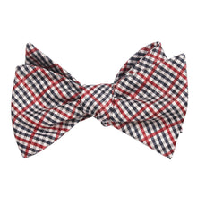 Load image into Gallery viewer, Red white and blue plaid bow tie, tied view