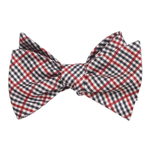 Red white and blue plaid bow tie, tied view