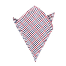 Load image into Gallery viewer, red white & blue plaid pocket square