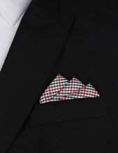 Load image into Gallery viewer, red white & blue plaid pocket square - suit jacket view