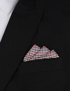 red white & blue plaid pocket square - suit jacket view
