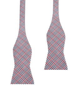Red white and blue plaid bow tie, untied view