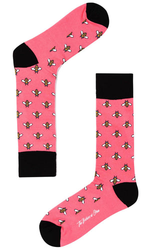 Pink dress socks with bees
