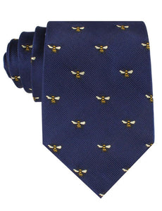 Navy neck tie with bees - front view