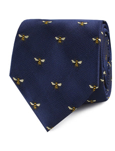 navy necktie with bees - rolled view