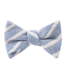 Blue Skies - Blue & White Linen Self-Tie Bow Tie