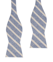 Load image into Gallery viewer, Blue Skies - Blue & White Linen Self-Tie Bow Tie Untied