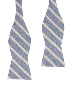 Blue Skies - Blue & White Linen Self-Tie Bow Tie Untied
