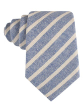 Load image into Gallery viewer, Blue Skies - Blue & White Linen Neck Tie