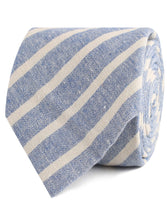 Load image into Gallery viewer, Blue Skies - Blue & White Linen Neck Tie Rolled View