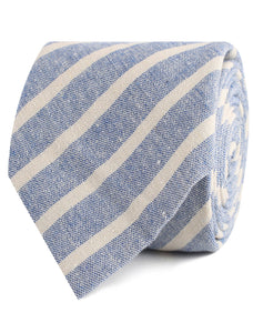 Blue Skies - Blue & White Linen Neck Tie Rolled View