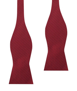 Maroon red bow tie, self-tie, herringbone pattern, untied view