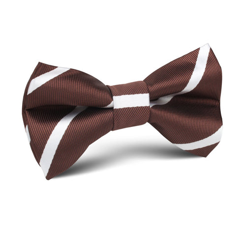 Brown and white stripes kids bow tie