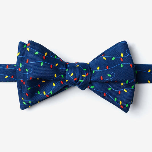 Tied view of Clark Christmas Lights Bow Tie - Adult Size - Self-Tie
