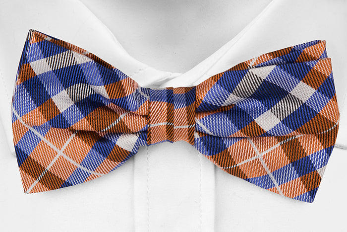 Joyfully Orange Plaid - Youth Size - Pre-Tied
