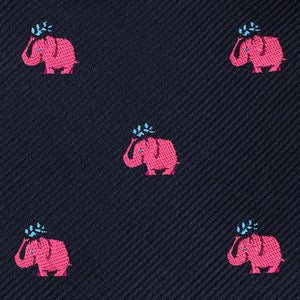 Pink Elephant Spraying Water Neck Tie Fabric