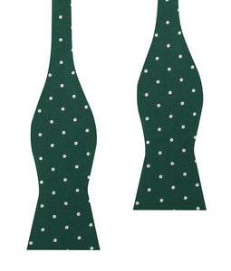 Pine green bow tie with white polka dots for men (untied view)