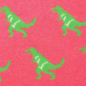 Green T-rex on pink socks material
