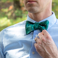 Load image into Gallery viewer, green and white polka dot bow tie with blue shirt