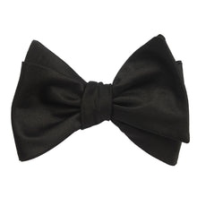 Load image into Gallery viewer, H-Bomb Solid Black Self-Tie Bow Tie - tied view
