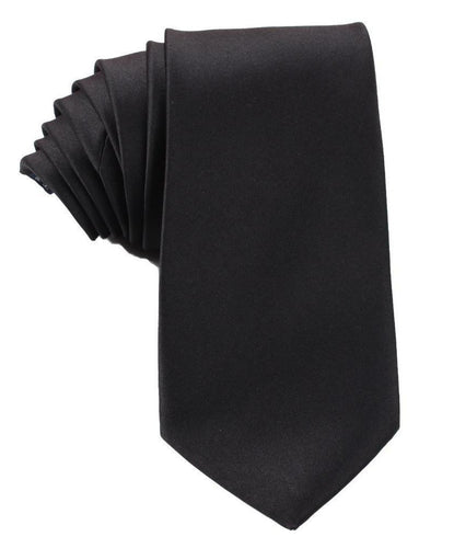 H-Bomb Solid Black Neck Tie - Top View