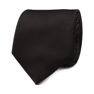 H-Bomb Solid Black Neck Tie Rolled View