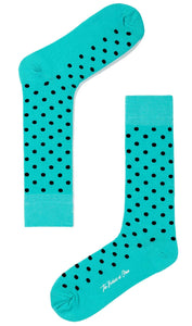 A Little Bit of Fun Socks - Turquoise with polka dots dress socks