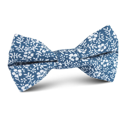 Blue orchid floral bow tie for boy's, front view
