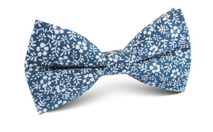 Blue and white orchid floral pre-tied bow tie, front view