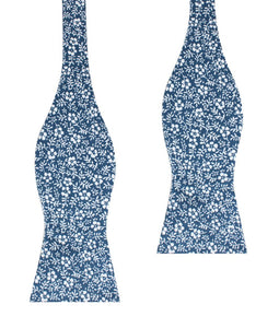 blue orchid floral self-tie bow tie, untied view
